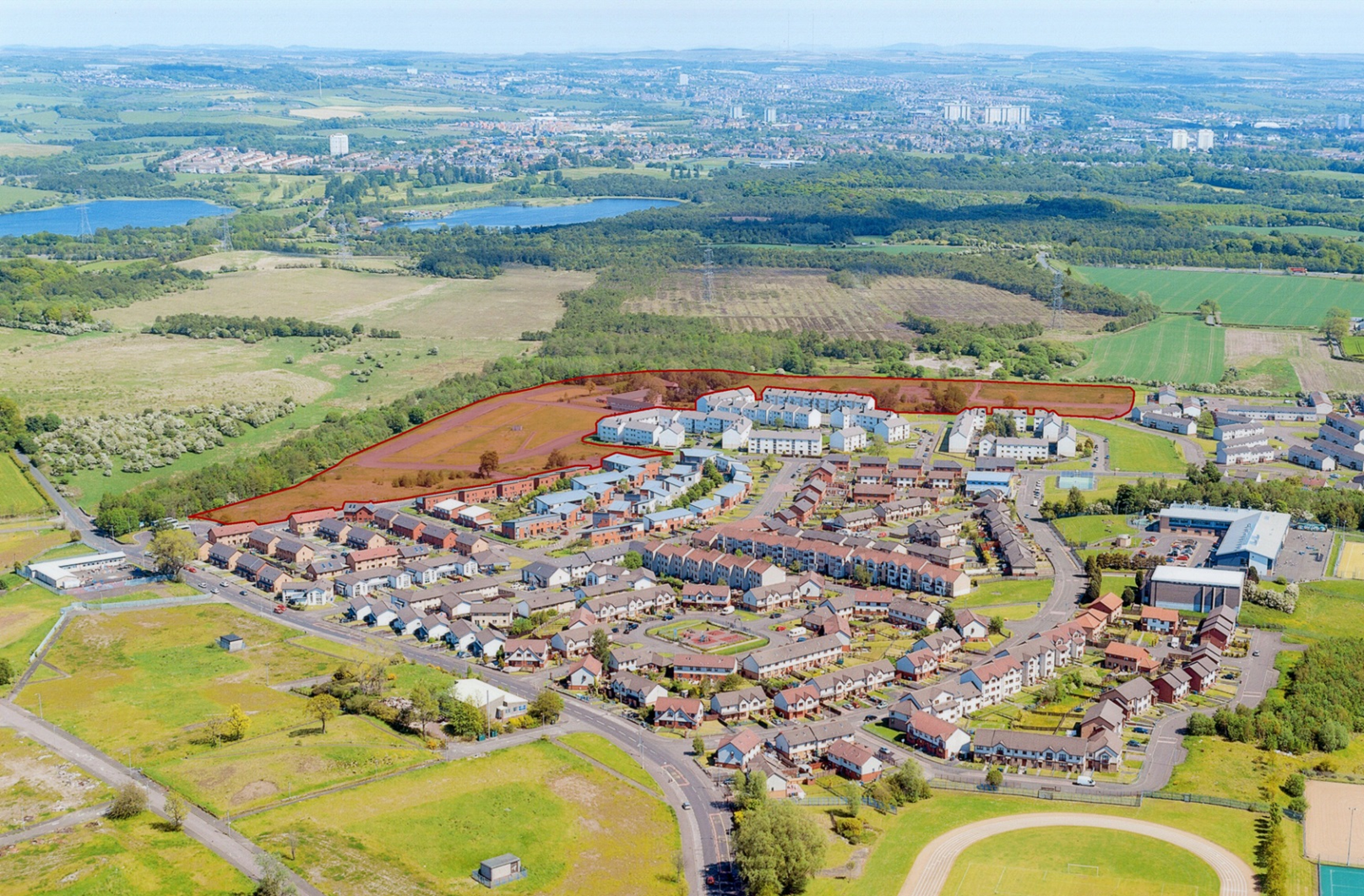 Ariel Photograph with red shading to show Abbeycraig development site